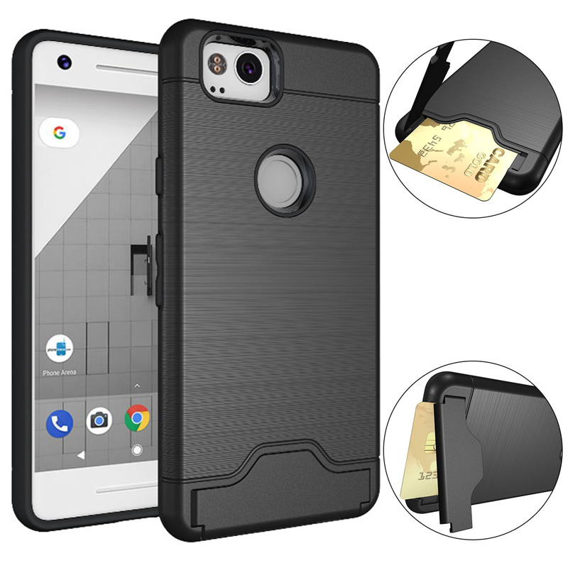 new style a2923 8893c For Google Pixel 2 Case For Google Pixel 2 XL Case Dual Shock Proof  Metallic Texture Card Holder Cover Case For Google Pixel2 XL