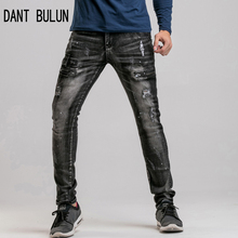 DANT BULUN new zipper Fashion Man black  Clothing ripped jeans for men ripped  mens biker blue Printing ink jeans  28-44 size