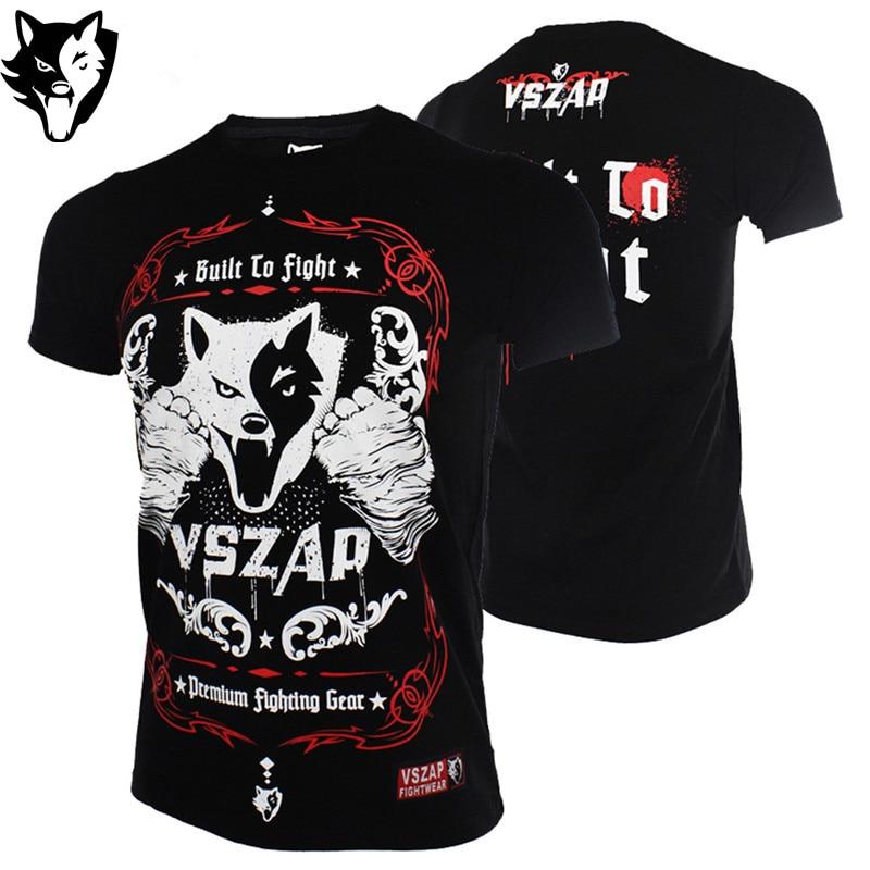 VSZAP Fighting Muay Thai Tiger Short-sleeved T-shirt MMA Sanda Martial Arts Kung Fu Sauna Suit Boxing Jerseys X-4XL Size