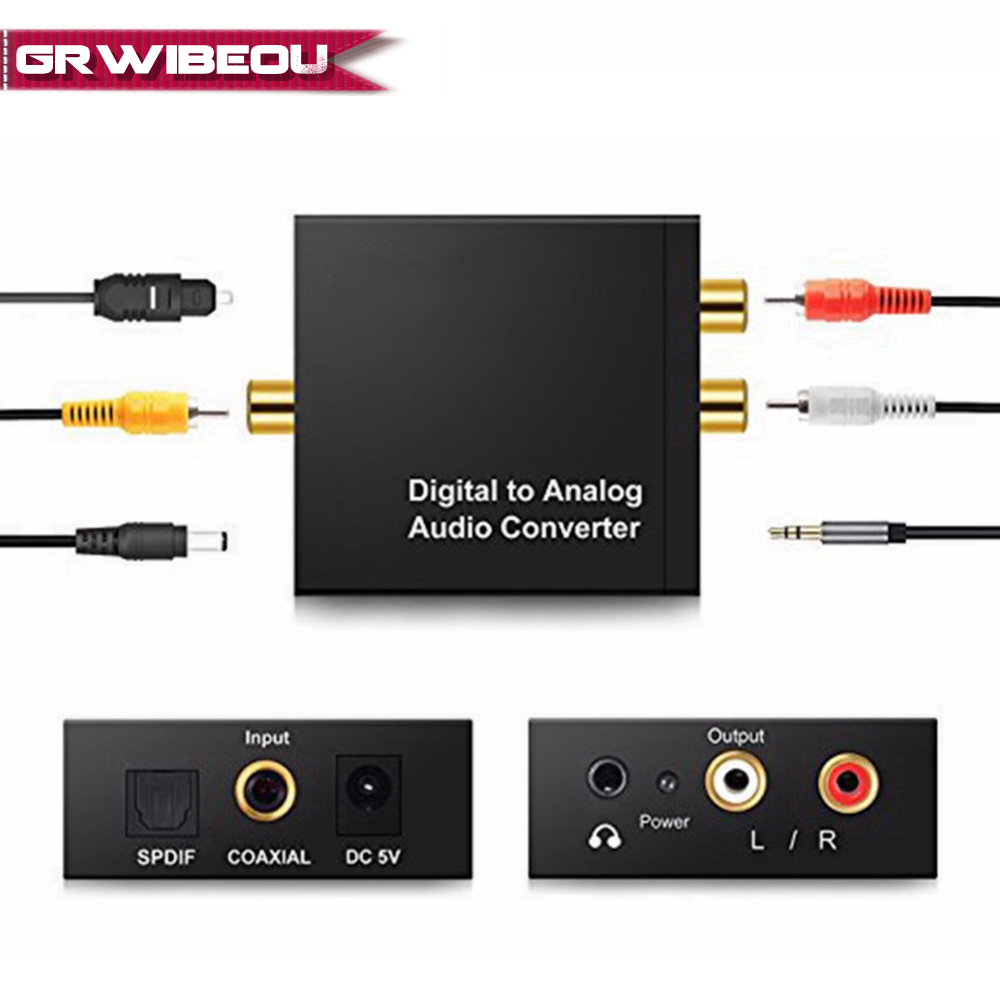 3.5MM Jack 2*RCA Digital to Analog Audio Converter Amplifier Decoder Optical Fiber Coaxial Signal to Analog DAC Spdif Stereo