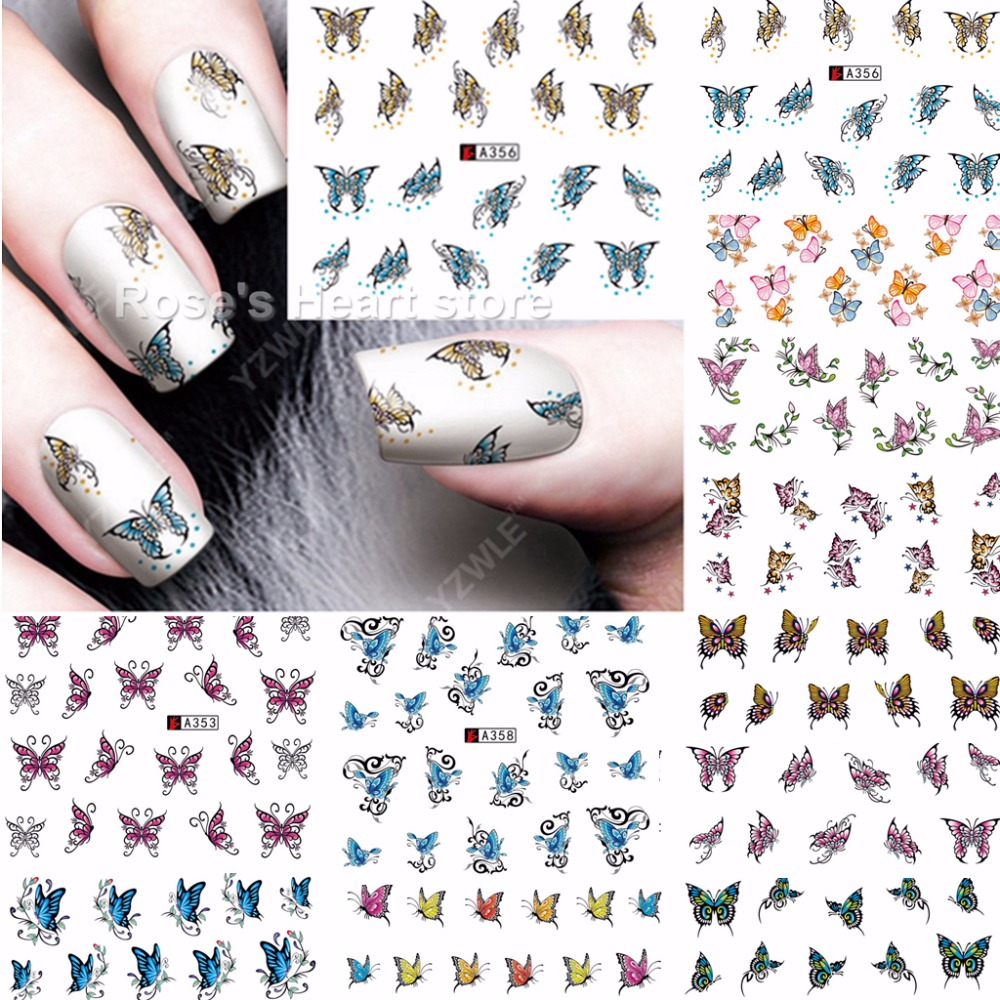 Nail Art Stickers Butterfly ~ Waterslide nail decals stickers art by ...