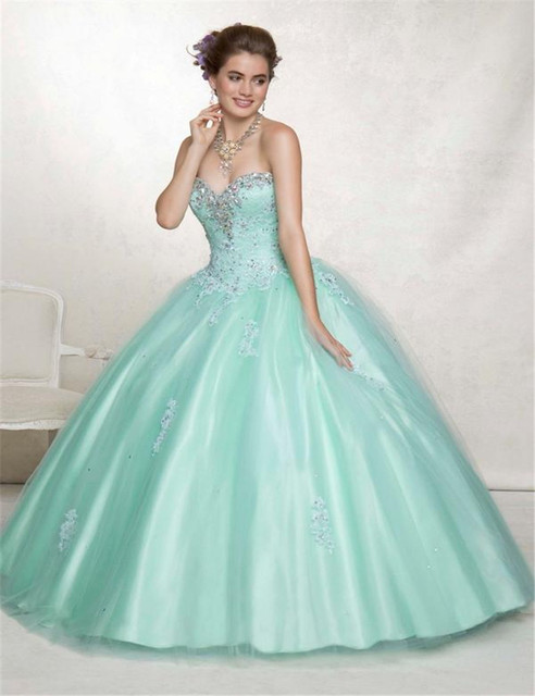 df557de7b11 2015 Hand Made Appliques Beads Long Big Girls Sweet 16 Ball Gown Women s  Quinceanera Dresse