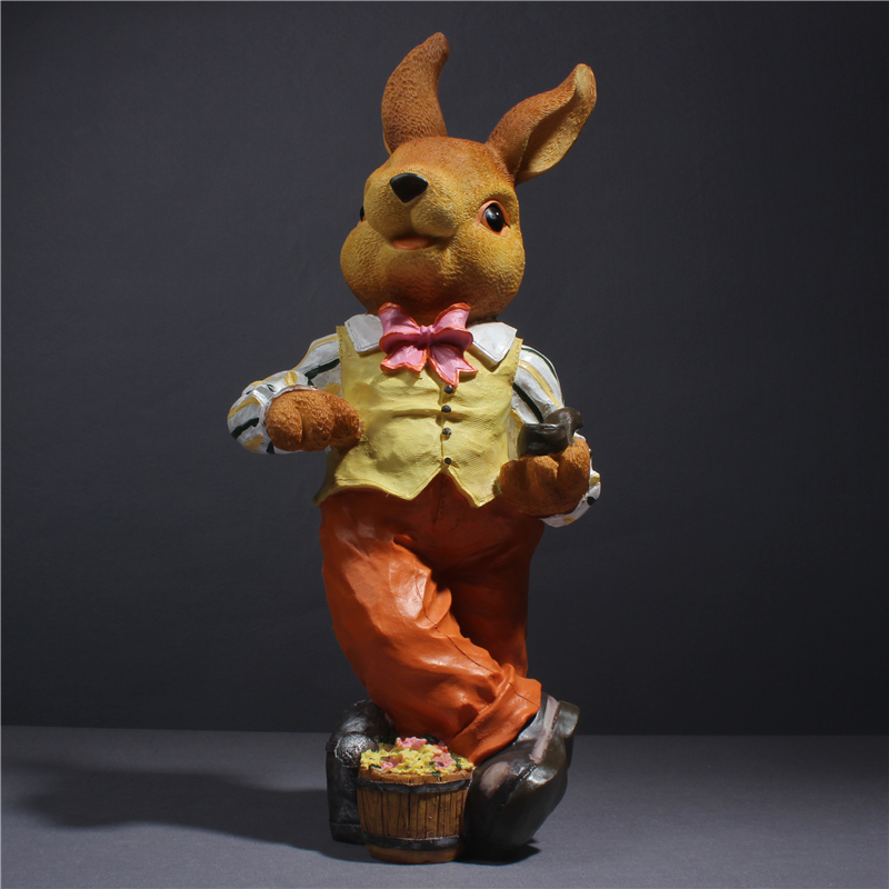 Decorative garden decorations creative resin rabbits figurine bunny gentleman shop display decoration animal ornaments outdoor