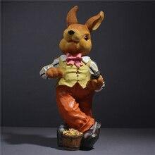 Decorative garden decorations creative resin rabbits figurine bunny gentleman shop display decoration animal ornaments outdoor