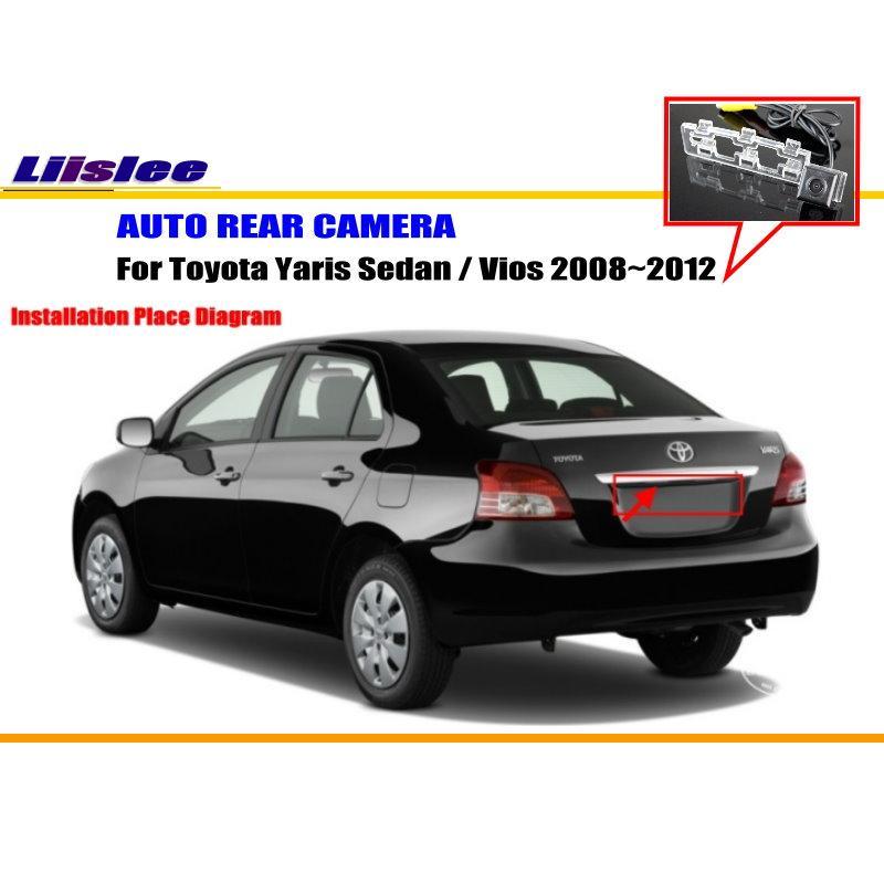 Câmera Do Carro Para Toyota Yaris Sedan Liislee/Vios 2008 2009 2010 2011  2012/Câmara De Visão Traseira/NTST/PAL Reverso Buraco Câmera Em Câmera  Veículo De ...