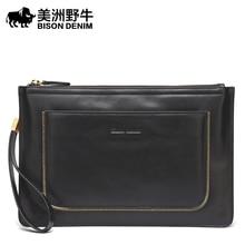 BISON DENIM High Quality Men Clutch Bag Genuine Leather Business Handbags Large Capacity Men's Envelope Bag Cowhide Wallet