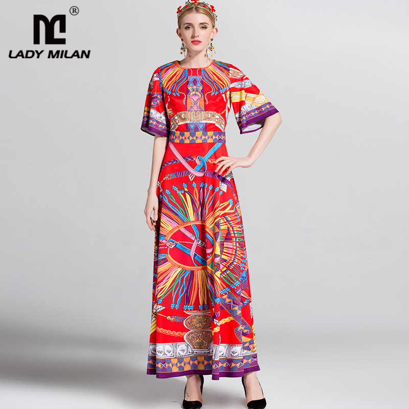 New Arrival 2018 Womens O Neck Short Sleeves Printed A Line Long High Street Fashion Dresses