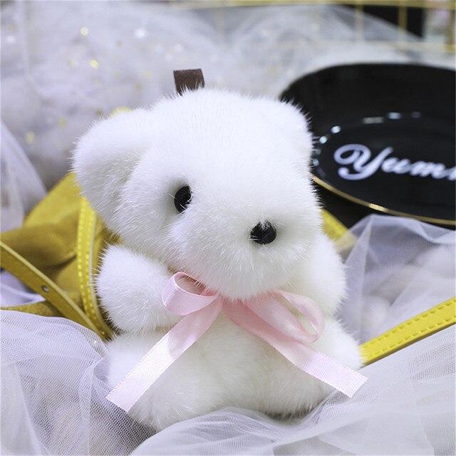 100% Real Pele De Vison Chaveiro Moda bonito do Urso De Pele Macia Chaveiro Bolsa Pingente Chaveiro Carro Decorações
