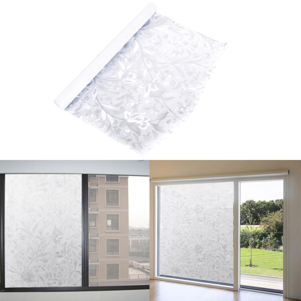Convenient 45x100cm Privacy Static Removable Glass Stripe Frosted Flower Home Office Window Film Self Adhesive Decorative Films