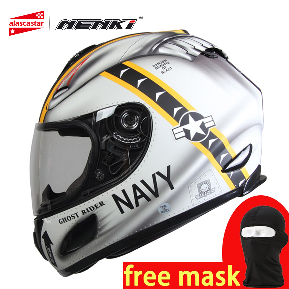 NENKI Motorcycle Helmet Full Face Helmet Motocross Motorbike Racing Breathable DOT Approved Anti fog Lens Casco