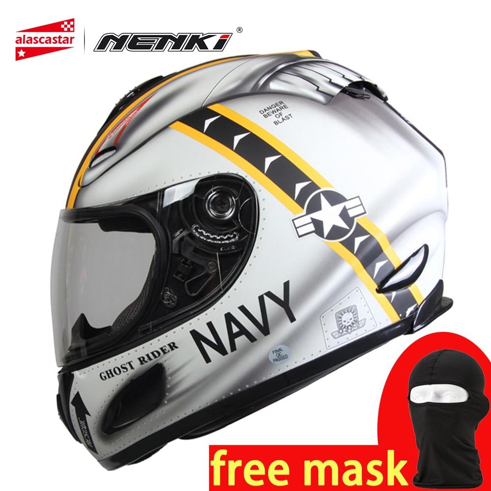 NENKI Moto Casque casque intégral Motocross Moto Racing Respirant DOT Approuvé Anti-visière antibuée Casco Moto Casque 802