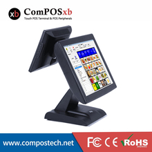 лучшая цена 15 Inch Touch Screen Dual Screen Cash Register Coffe Shop Pos Point Of Sale All In One Touch Screen Pos