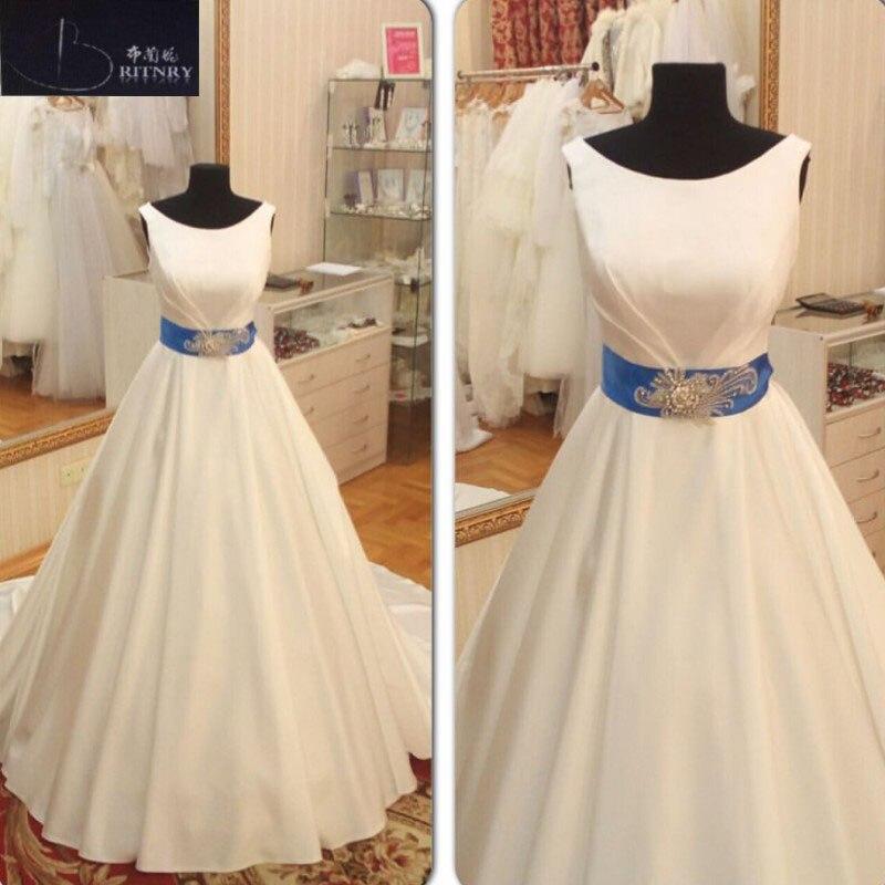 Robes de mariée en Satin de Style Simple Scoop A ligne chapelle Train robe de mariée sans manches 2018 robes de mariée