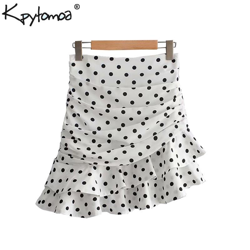 Vintage Stylish Polka Dot Ruffled Irregular Mini Skirt Women 2019 Fashion A Line Back Zipper Ladies Skirts Casual Faldas Mujer
