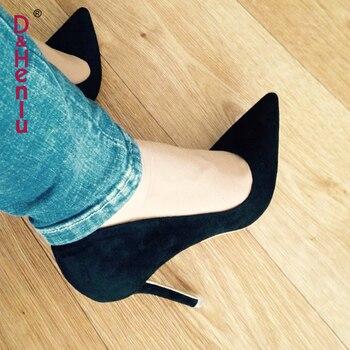 {D & Henlu}/Женская обувь фиолетового цвета, женские туфли-лодочки из флока на высоком каблуке, женские офисные туфли с острым носком, летние туф...