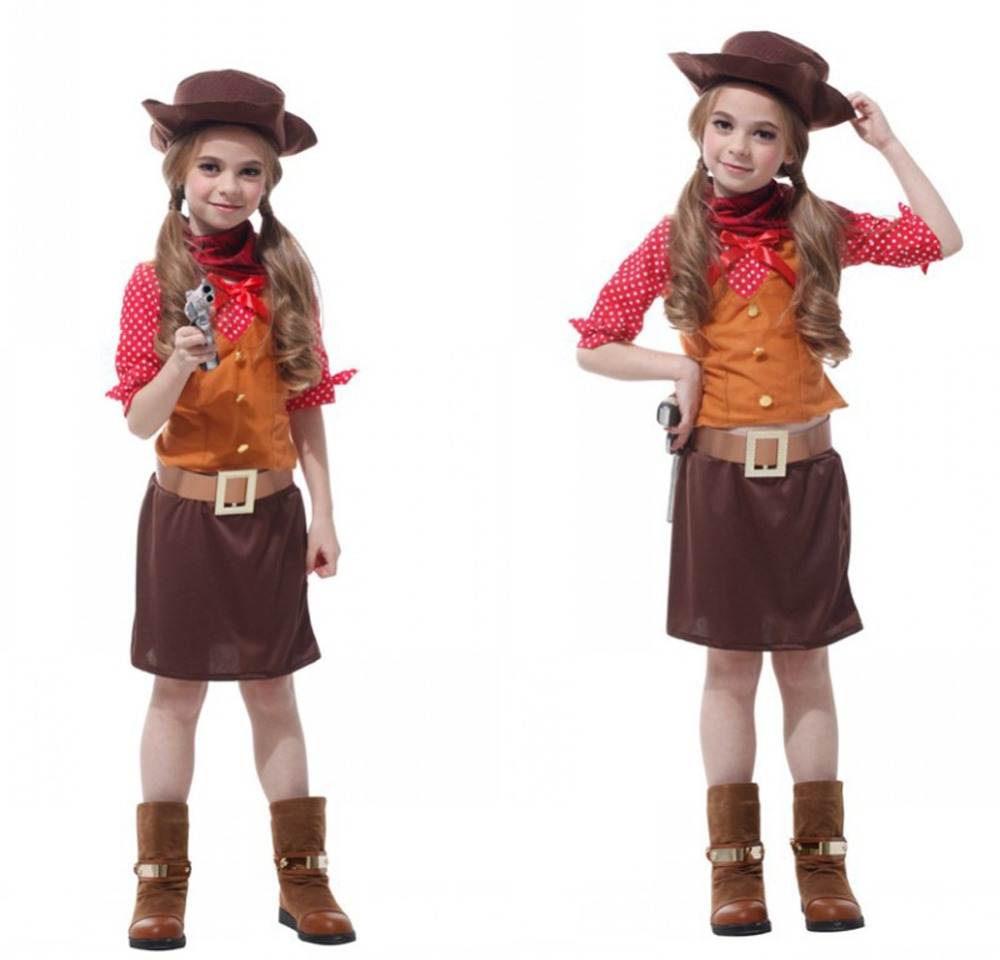 Western Cowgirl Costume Halloween Fancy Dress Cosplay Outfit new 2015 cowgirl