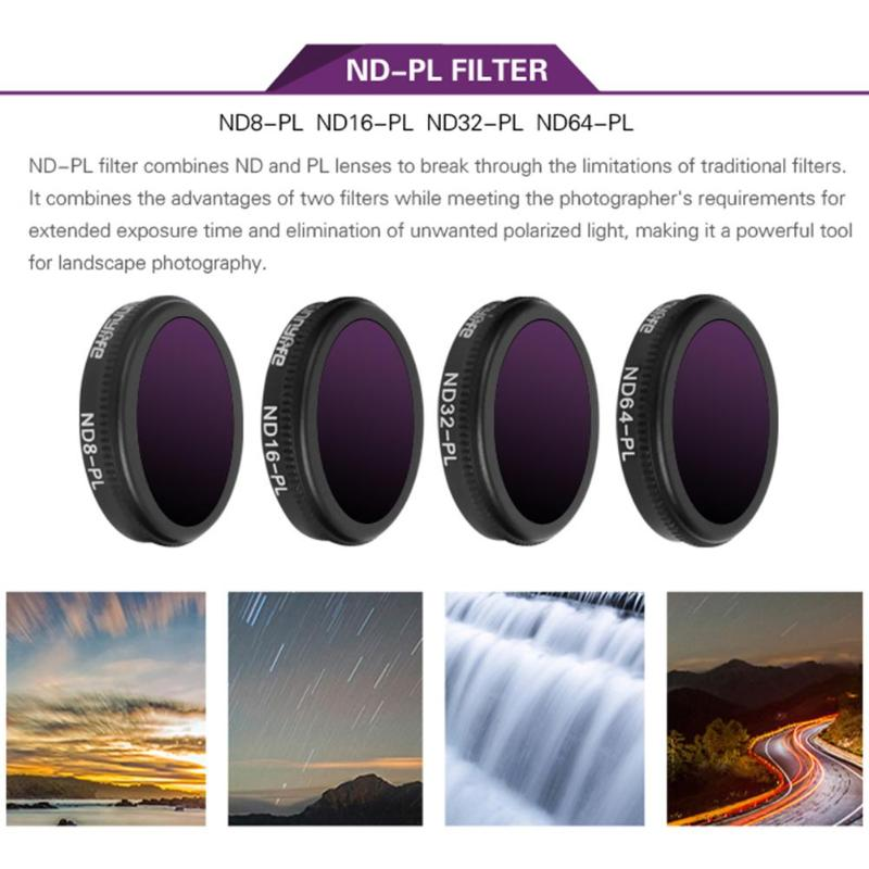 4 in 1 Varied Sunnylife ND-PL Camera Lens Filter Set for DJI MAVIC 2 Zoom Drone Accessory Camera Photo Lens Accessories 3