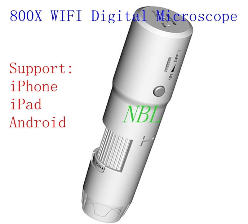 800X Digital WIFI Microscope 25X-800X Wifi Magnifier 8*LED IOS Android Phone Biological Microscopes Rechargeable Loupes With Box digital wifi microscope camera with android ios mobile phone live monitoring app