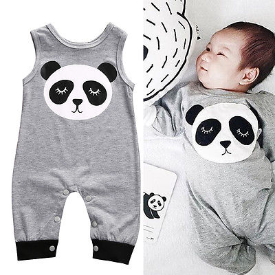 Hot Sleeveless Cute Newborn Infant Baby Boy Girl Panda Romper Jumpsuit Clothes Outfits Baby Clothing Rompers newborn baby rompers baby clothing 100% cotton infant jumpsuit ropa bebe long sleeve girl boys rompers costumes baby romper