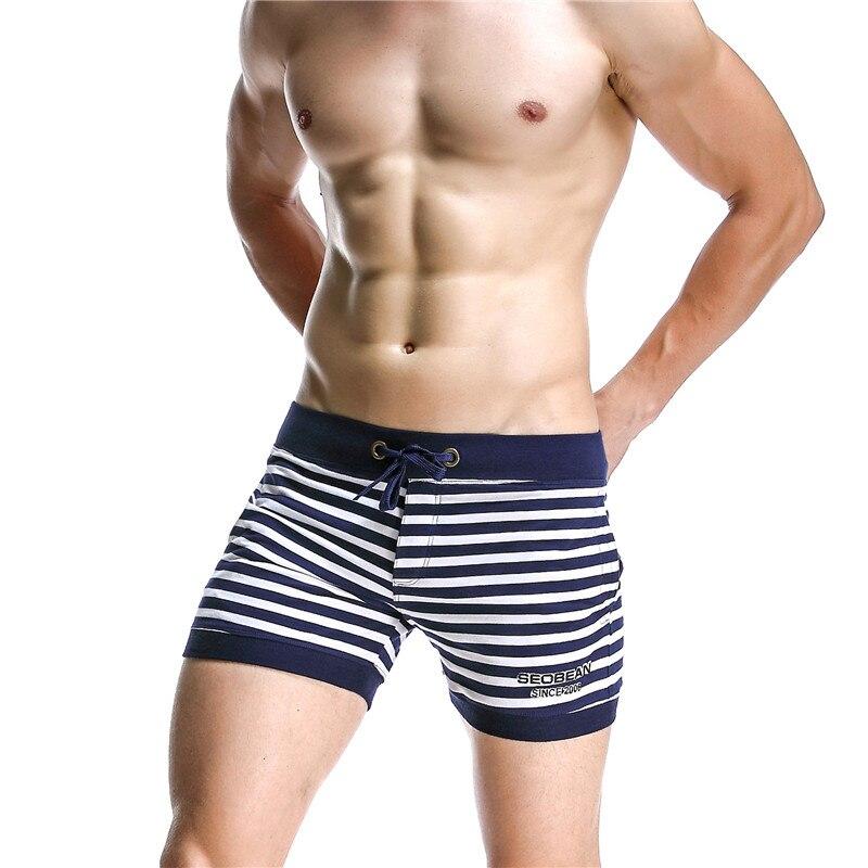 Hommes shorts d'été Séance D'entraînement courte longueur rayé maison short avec poche sur le côté
