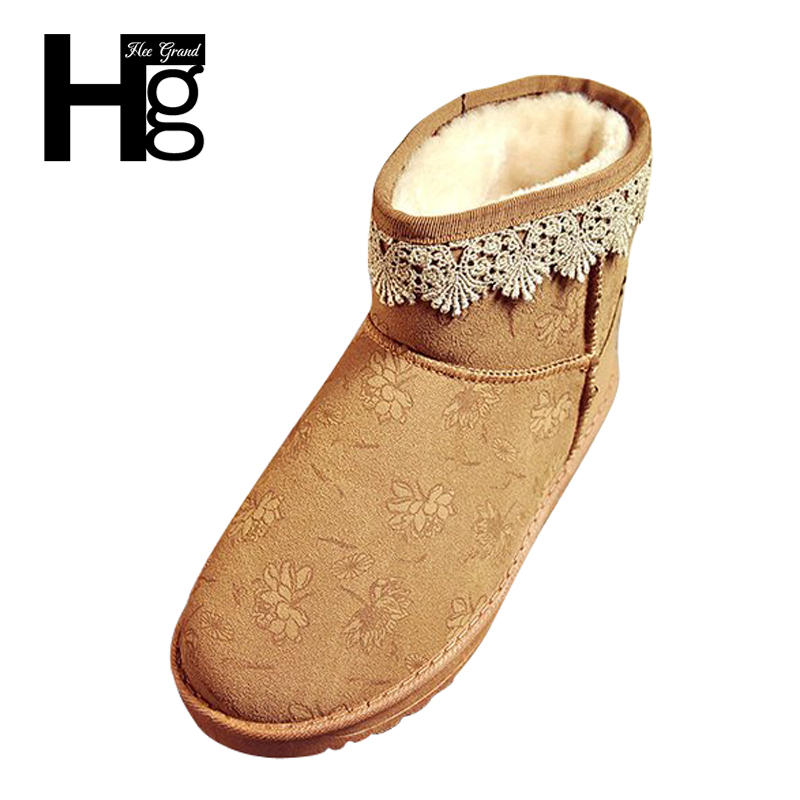 HEE GRAND Lace Fashion Embroider Women Winter Boots Warm Girl Boots Slip on Brown Lady Shoes Young Snow Boots 35-40 XWX6280 latest style women s loafers girl white shoes fashion women s shoes 2017 ox fur embroider deodorization massage