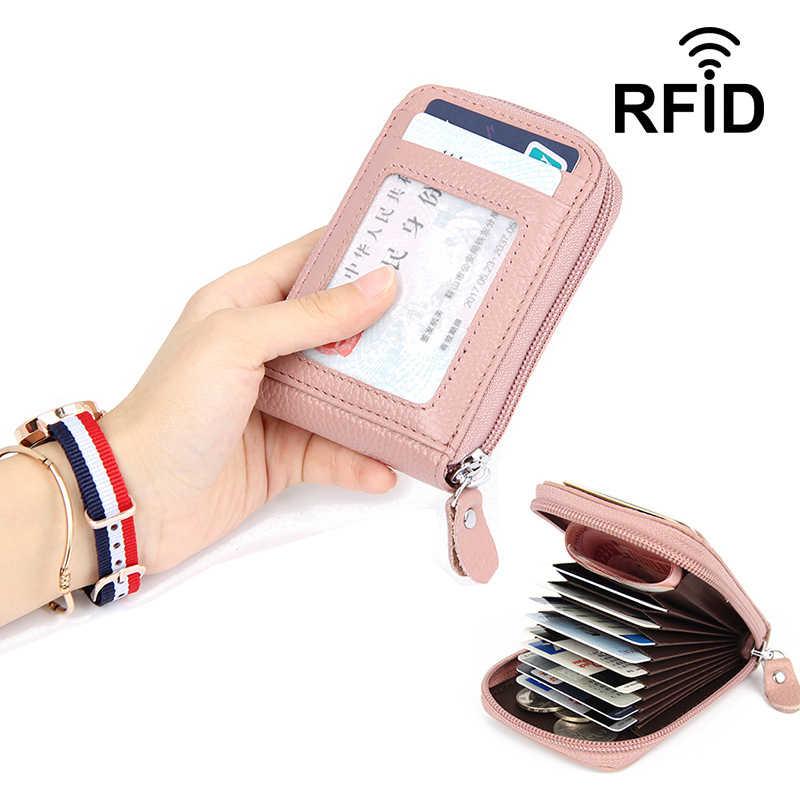 Hakiki deri Unisex iş kartlıklı cüzdan banka kredi kartı kılıfı kimlik tutucular Rfid cüzdan kırmızı mor pembe mavi siyah gri