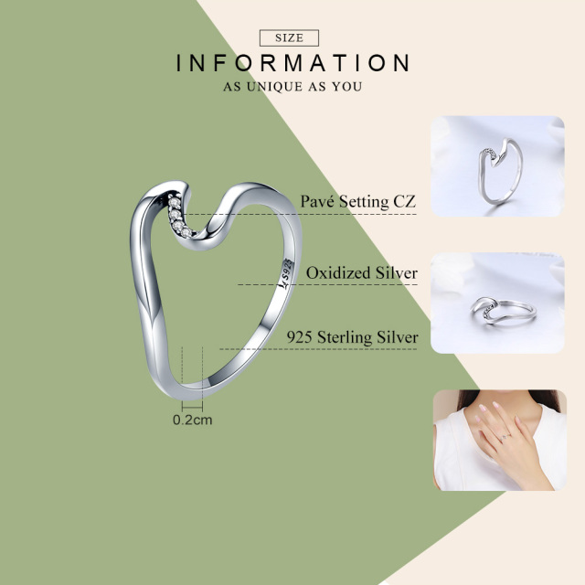 BAMOER Authentic 100% 925 Sterling Silver Geometric Wave Finger Rings for Women Wedding Engagement Jewelry Gift S925 SCR378 1