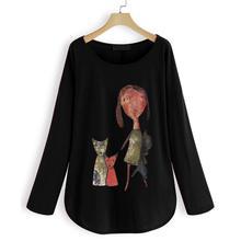 Plus Size Women Top 2019 NEW Autumn Casual Loose T-shirt Character Print Tunic Shirt Tops Fashion Design Long Sleeve Shirt