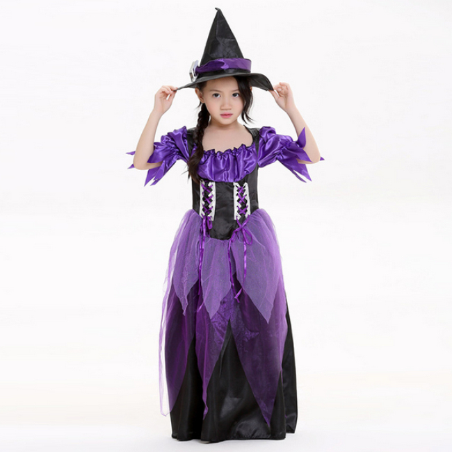 Size S-M-L NEW adorable kids girl black purple Halloween witch costume,children girl party suit gauze witch clothes