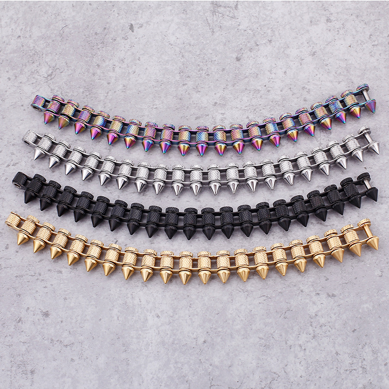 New domineering titanium steel bullet men's bracelets alternative bicycle chain jewelry