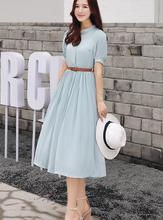 Бесплатная доставка 2017 Лидер продаж стенд воротник одной кнопки спереди короткий рукав Плиссированное шифоновое длинное платье