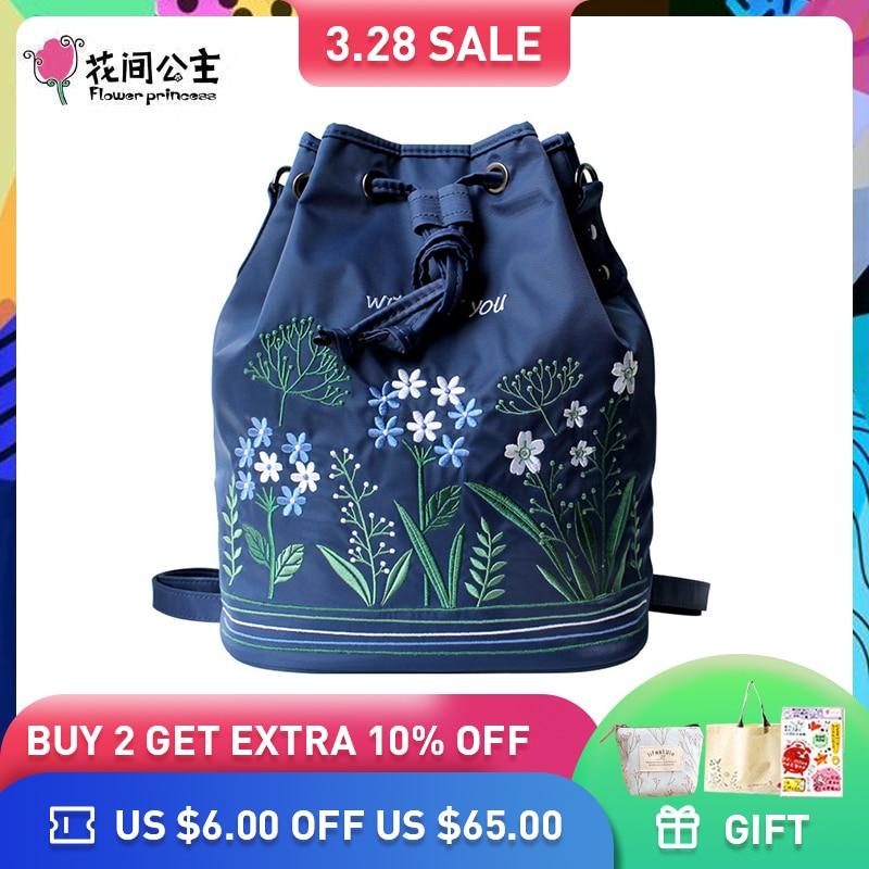 Virág hercegnő márka női retro nylon hátizsák hímzés iskola tizenéves lány téli válltáskák divat crossbody táskák
