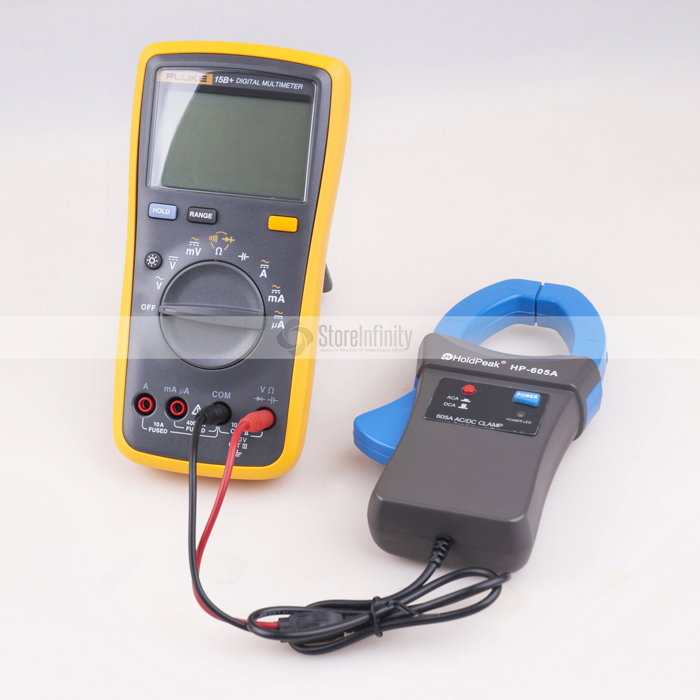 Fluke 15B+ Plus Auto Range Digital Probe Multimeter + Holdpeak HP-605A Clamp Adapter 600A AC/DC Current Power LED 45mm Jaw new fluke 303 clamp multimeter ac dc handheld 600a 30mm 4000ohm with backlight