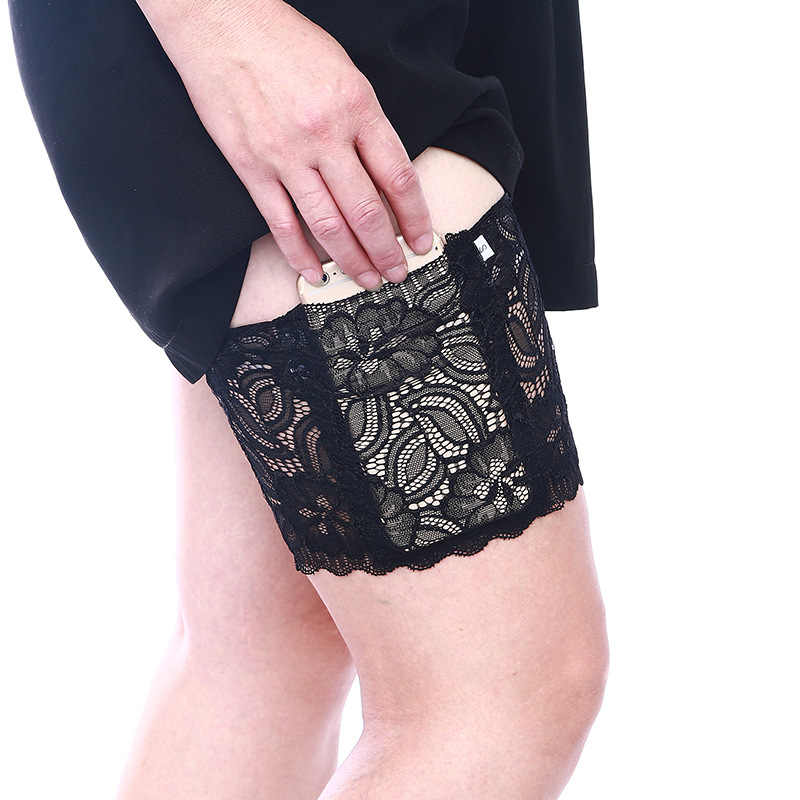Women Sexy Lady Anti Chafing Floral Lace Thigh Bands Slip Silicone Leg Warmer Phone Pocket Card Cell Three Rows Plus size Drop