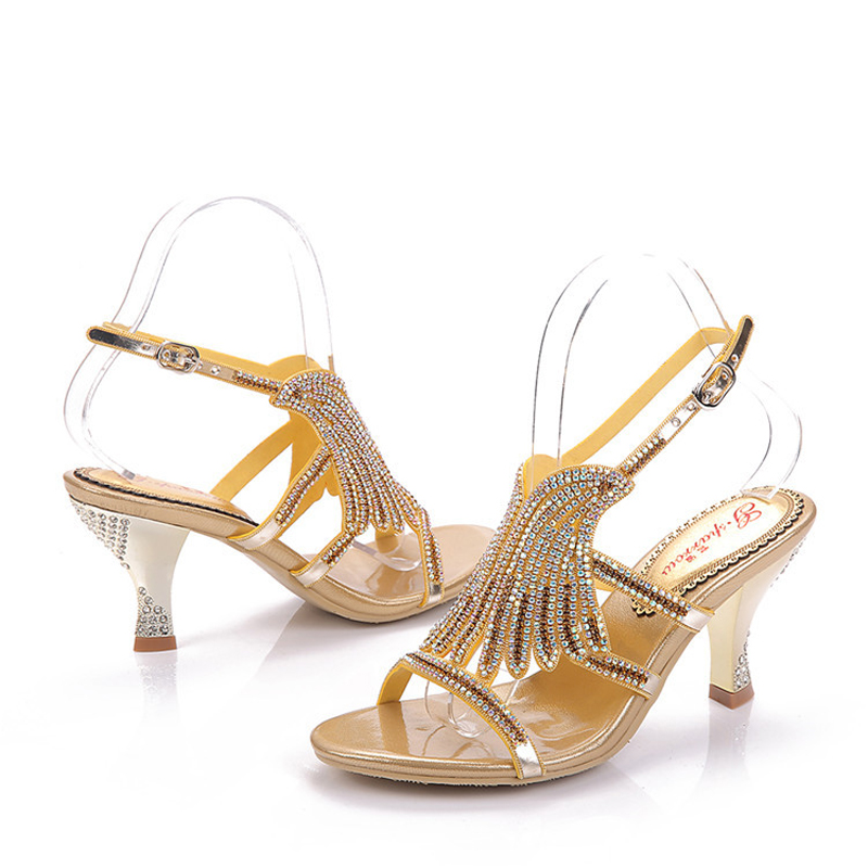 Summer Women Sandals Rhinestone Cutout Flower Fashion Gold Color Sandals  Thick Heel Open Toe Party Prom Heels Wedding Shoesin Womens Sandals from  Shoes on