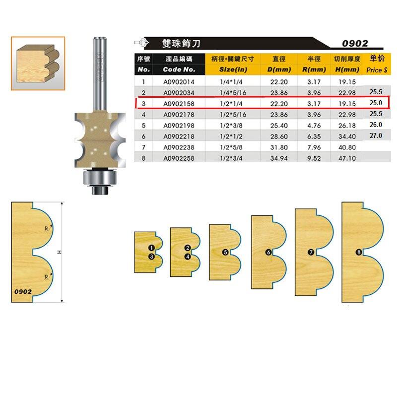 Punta per router Arden a doppia perla per legno - 1/2 * 1/4 - Gambo - Macchine utensili e accessori - Fotografia 3