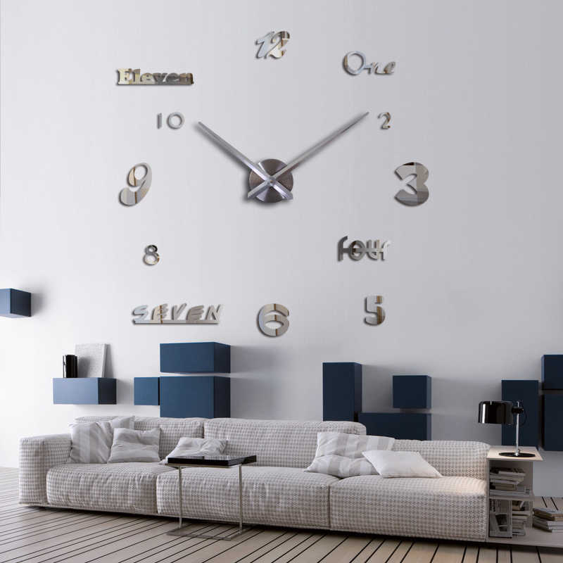 Top Fashion Wall Clock Acrylic Mirror Europe Quartz 3d Diy Still Life Home Decoration Stickers Living Room
