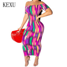 KEXU Sexy Womens Rainbow Striped Open Back Slim Dress Summer Elegant  Bodycon Bandage Pencil Female Hollow Out Maxi
