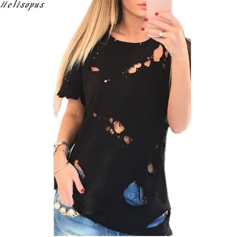 Helisopus 2019 Fashion Women Holes T-Shirt Black White Short Sleeve Ripped T-Shirt Lady Tops O Neck Hollow Tee como rasgar uma camiseta feminina