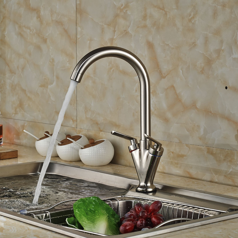 Brushed Nickel Dual Handle Rotation Kitchen Mixer Taps Deck Mount One Hole Hot Cold Water Faucet