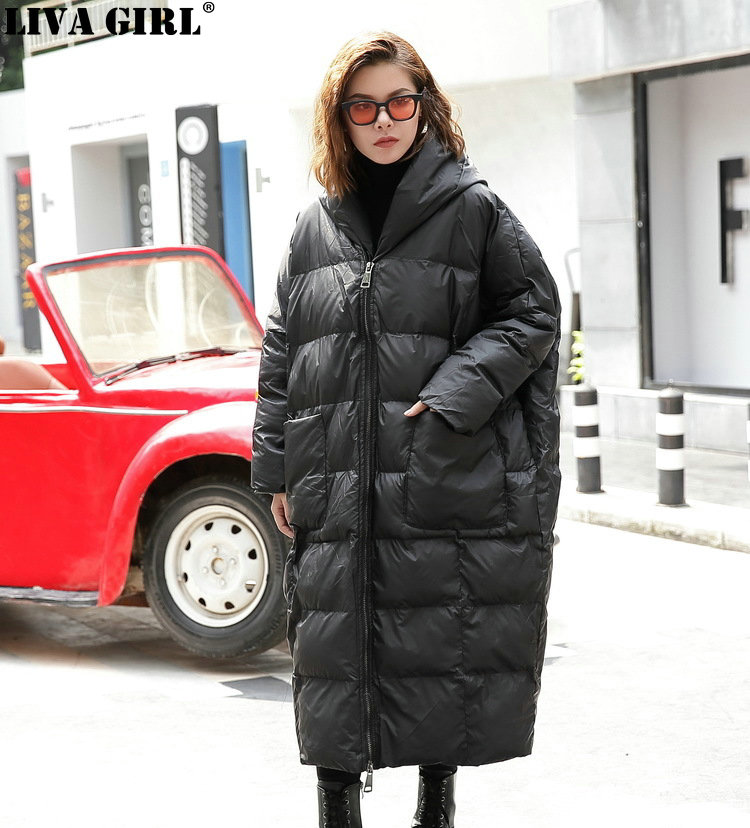LIVA GIRL New Winter Hooded Long Sleeve Solid Color Black Cotton padded Warm Loose Big Size