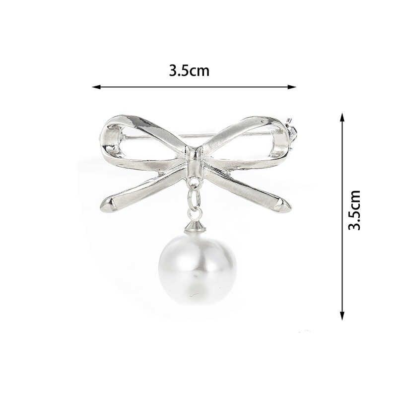 Ikatan Simpul Pearl Bros Wanita Elegan Kristal Berlian Imitasi Perhiasan Berkualitas Tinggi Kemeja Pakaian Pins Emas Warna Perak Bros Hadiah