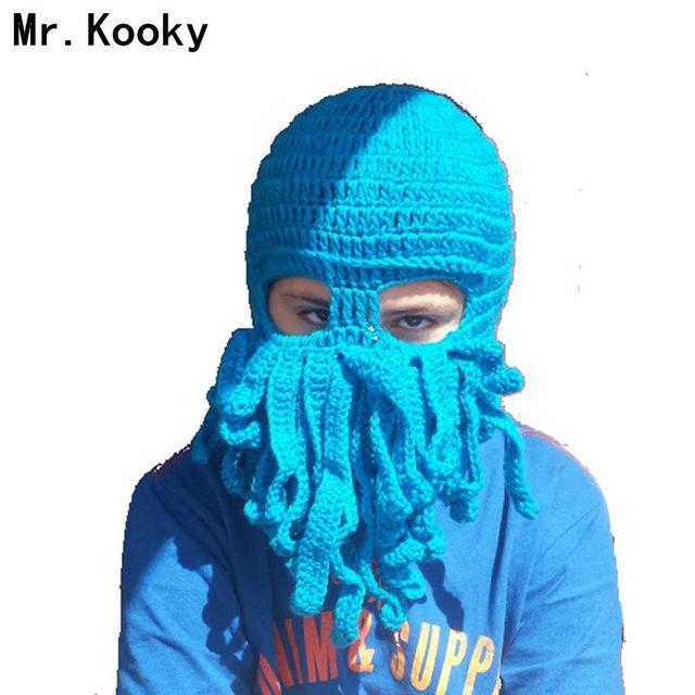ff877b2a9680e Mr.Kooky Cool Child Winter Novelty Handmade Knitting Funny Octopus Hats  Animal Cap Halloween Cthulhu Beard Beanie Boy Girl Gifts