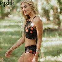 TQSKK 2017 High Waist Bikinis Women Swimwear Printed Swimsuit Female Summer Beach Wear Bandage Bikini Set