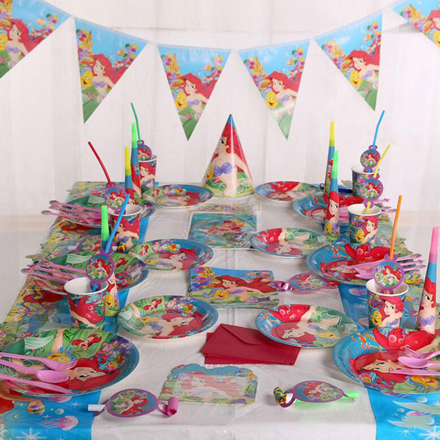 People Decorating For A Party 6 people mermaid theme decoration props jungle plate banner kids