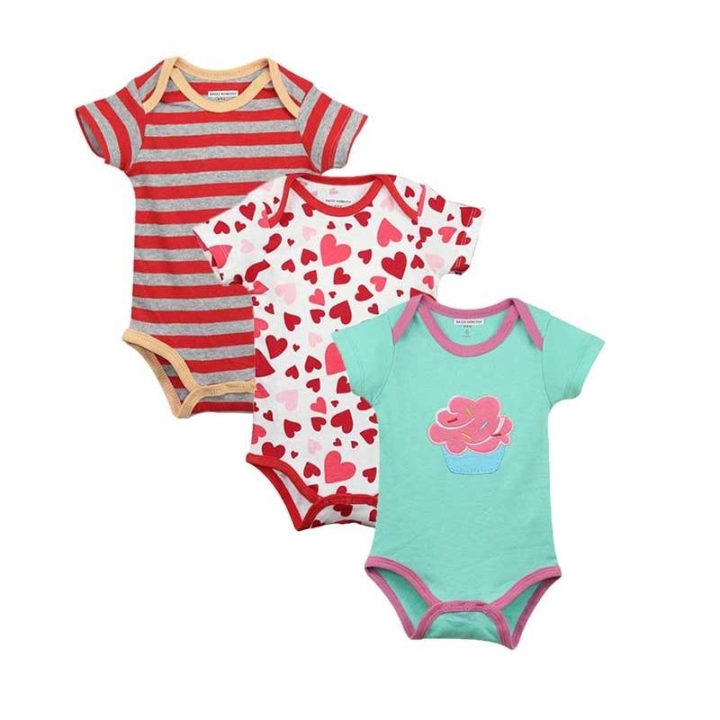 3pcs / lot התינוק החדש Bodysuit יפה הדפסת תינוק תלבושת Pure כותנה שרוול קצר בנים בנות התינוק בגדים