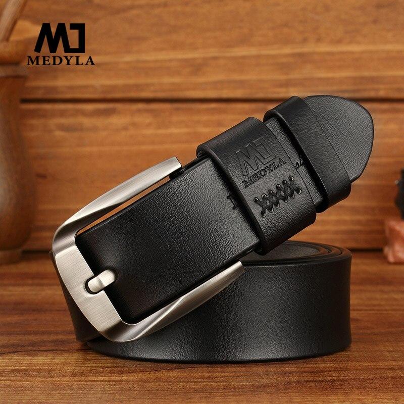 MEDYLA Men's Leather   Belt   Genuine Luxury Leather Vintage Design Pin Buckle Genuine Leather   Belt   Male Waistband Cummerbund Strap