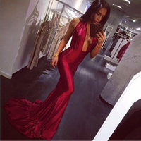 Sexy Cross Halter Floor Length Party Dress Strapless Wine Red Bodycon Shiny Satin Backless Elegant Evening Party Dresses 2018