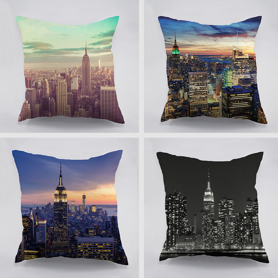 New York City View Dawn Pattern Cotton Cushion Cover For Home Car Couch Empire State Building Design Dark Night Pillw Case