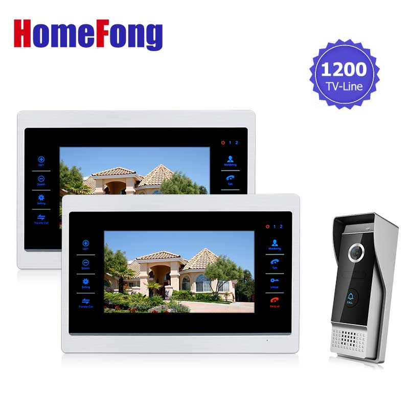 Homefong 10  inch  TFT LCD Door Phone Video Doorbell System with  Camera Wired Video  1200TVL 1V2 Home Apartment Entry Kit homefong villa wired night visual color video door phone doorbell intercom system 4 inch tft lcd monitor 800tvl camera handfree